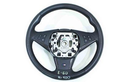 Czarna skórzana kierownica z karbonowymi dokładkami z serii m power do BMW 5 E60 E61