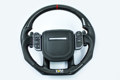 Czarna kierownica sportowa wykonana z włókna węglowego do Range Rovera Sport i Velar